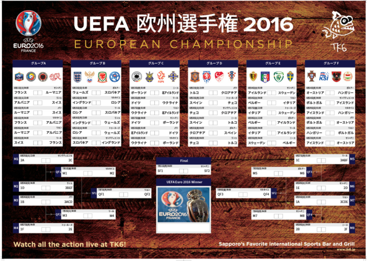 2334 Tk6 Euro 2016 Wall Chart Ol